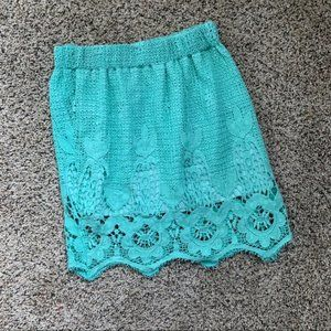 Tea and Cup Mint Green Mini Skirt Size S/M